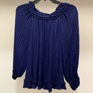 Navy with gold pinstripe, off the shoulder top